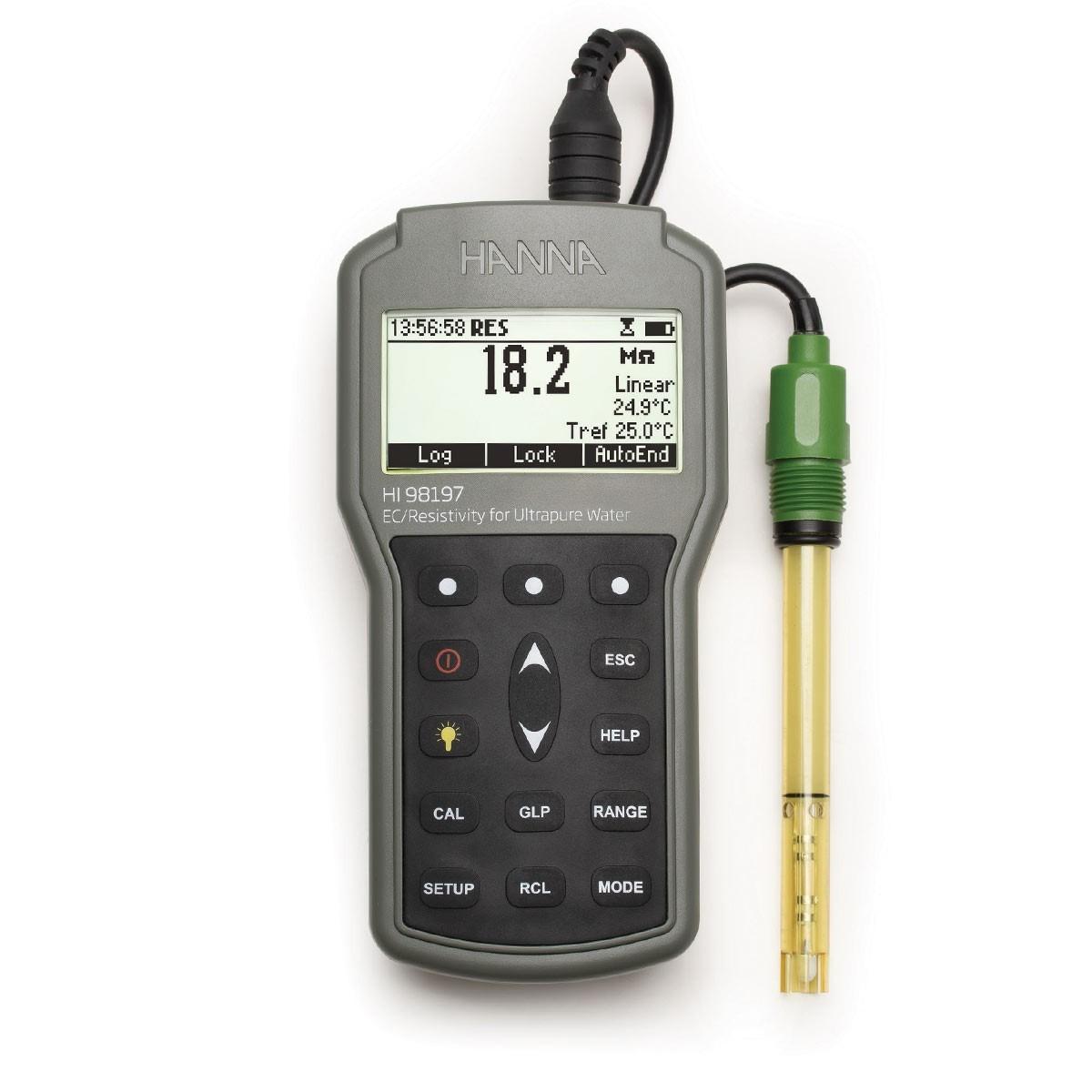 Máy đo EC/TDS/Trở kháng/Độ mặn chống thấm nước cho nước siêu tinh khiết HI98197 Hanna