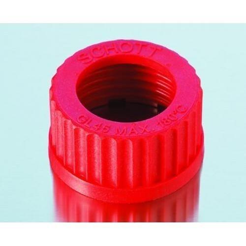 Nắp vặn đỏ chai trung tính, chịu nhiệt GL45, có lỗ Duran