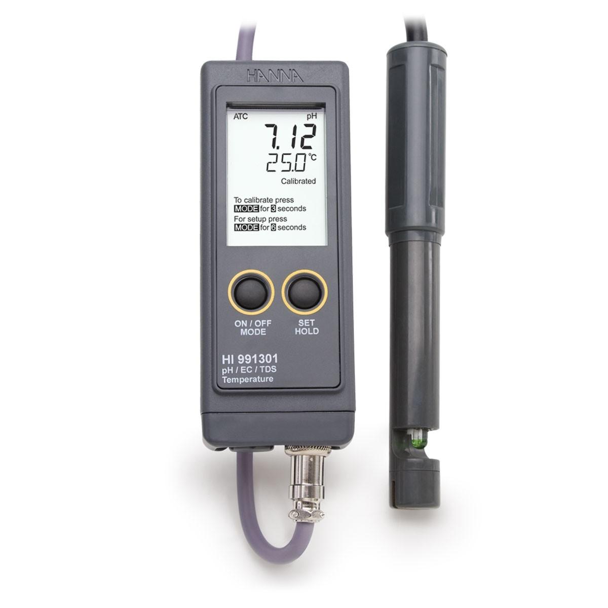 Máy đo pH/EC/TDS/Nhiệt độ chống thấm nước (Thang cao) HI991301 Hanna