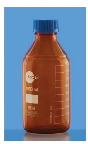 Chai trung tính nâu hổ phách nắp vặn 100 ml Borosil
