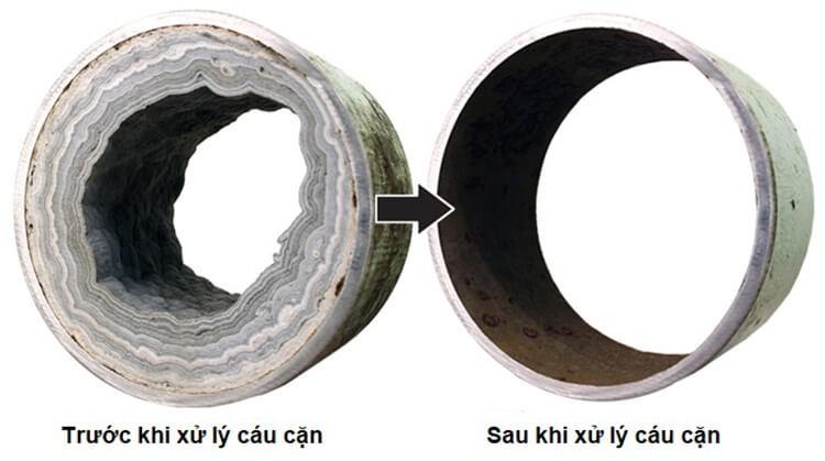 Trước và sau khi xử lý cáu cặn
