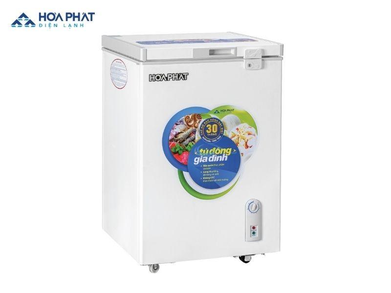 Tủ đông Hòa Phát mini loại 107L có thích thước 564mm x 590mm x 870mm, phù hợp với không gian nhỏ