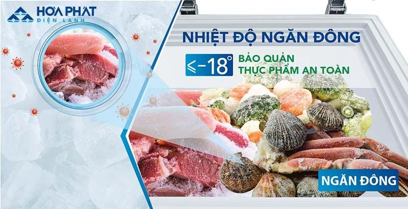 Nhiệt độ ngăn đông dưới âm 18 độ giúp tủ đông giữ thực phẩm an toàn, vẹn nguyên dưỡng chất