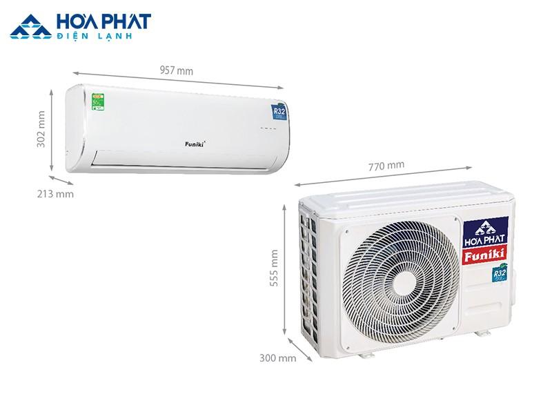Kích thước sản phẩm điều hòaFuniki treo tường 18000 BTU - HSC 18MMC