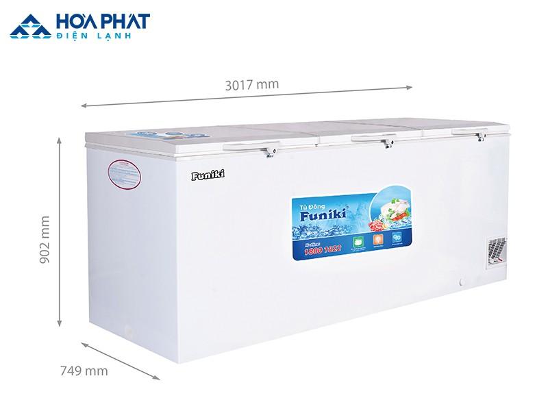 Kích thước dòng tủ đông Funiki dạng nằm HCF 1700S1PĐ3.N