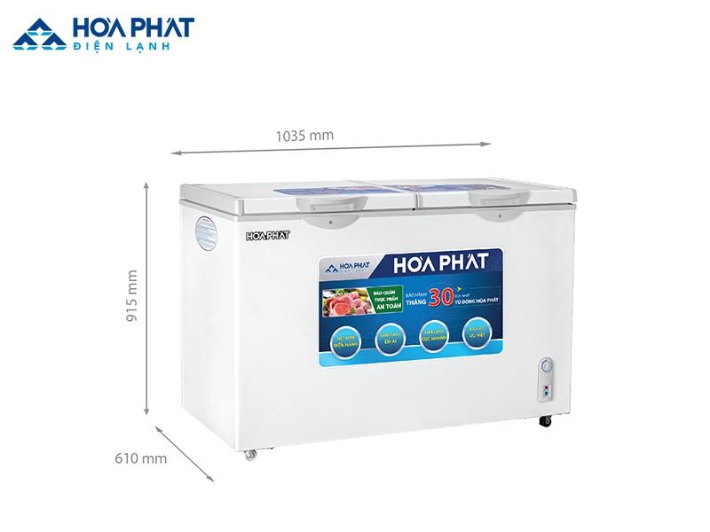 Kích thước sản phẩm tủ đông Hòa Phát HCF 506S2Đ2