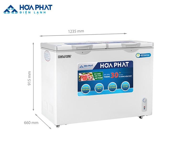 Kích thước tủ đông Hòa Phát HCF 656S2Đ2