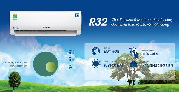 Máy điều hòa dạng treo tường HIC R32 Funiki an toàn với môi trường và người dùng.