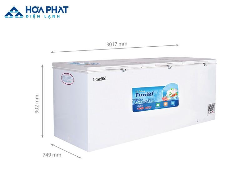 Tủ đông Funiki HCF-1700S1PĐ3.N có kích thước và sức chứa lớn hơn tủ đông Funiki HCF-1300S1PĐ3.N