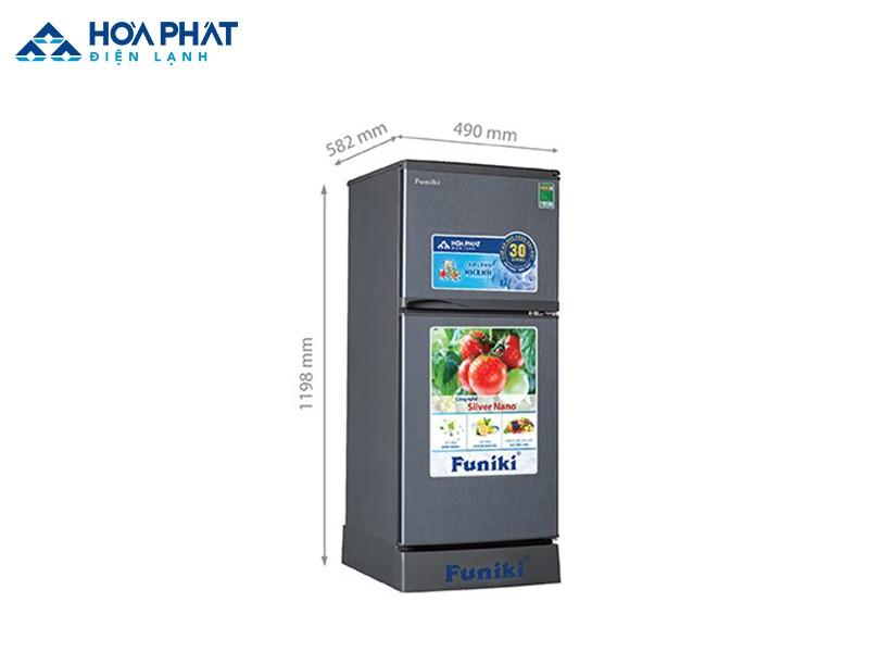 Tủ lạnh Funiki FR-135CD có dung tích 130 lít, kích thước nhỏ gọn nên phù hợp với gia đình ít người từ 2 – 3 thành viên