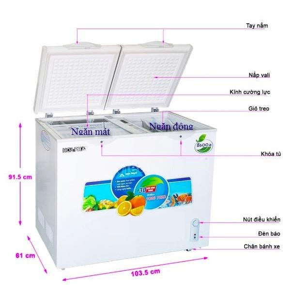Tủ đông mini chính hãng Hòa Phát có dung tích 250L phù hợp với nhu cầu sử dụng của gia đình từ 3 đến 4 người