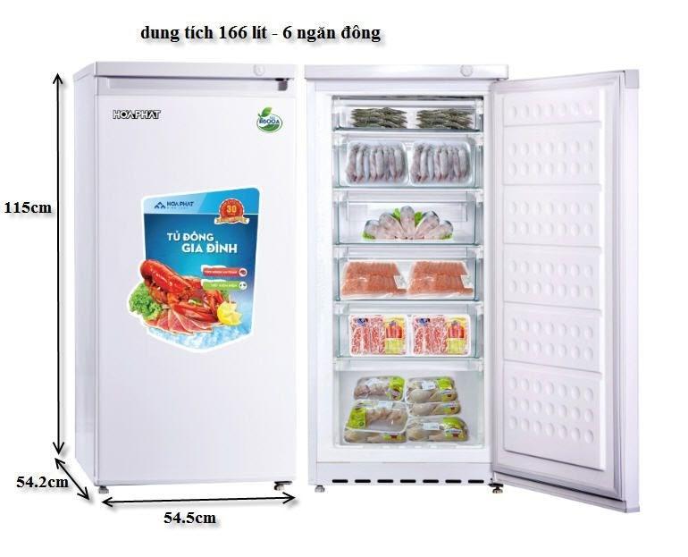 Tủ đông mini Hòa Phát có 6 ngăn với dung tích 166 lít rất tiện lợi khi sử dụng