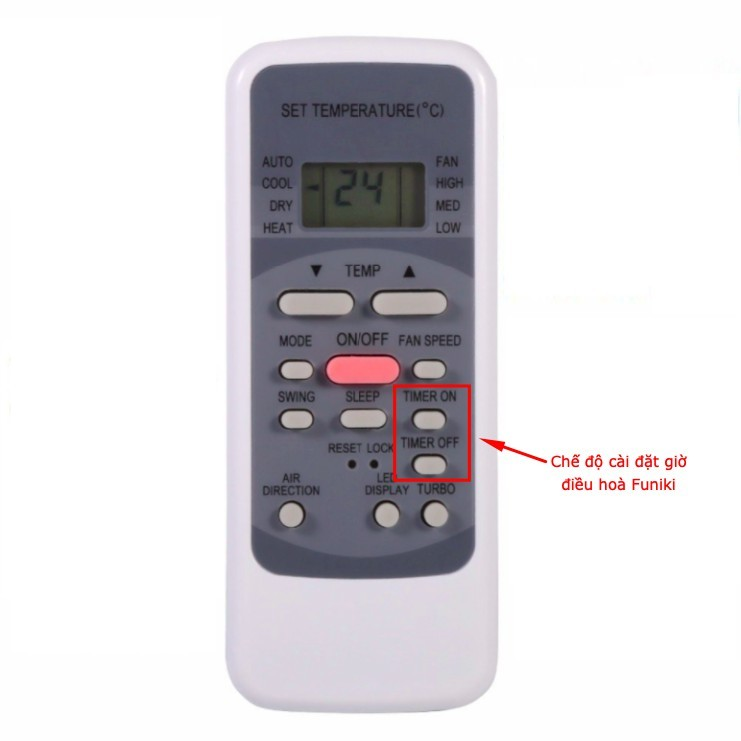 Nút cài đặt giờ trên điều khiển MMC2 - Điều hoà Funiki