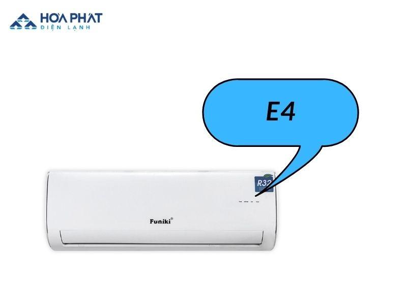 Điều hòa funiki hiện lỗi e4 do hệ thống cảm biến nhiệt có vấn đề