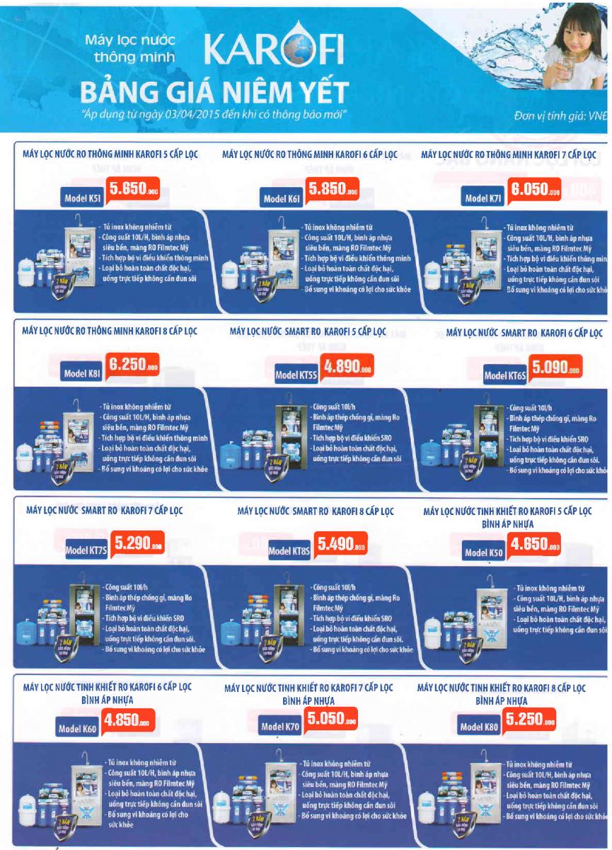 Giá máy lọc nước Karofi