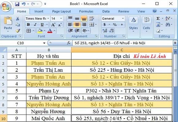 đánh dấu dữ liệu trùng nhau trong Excel