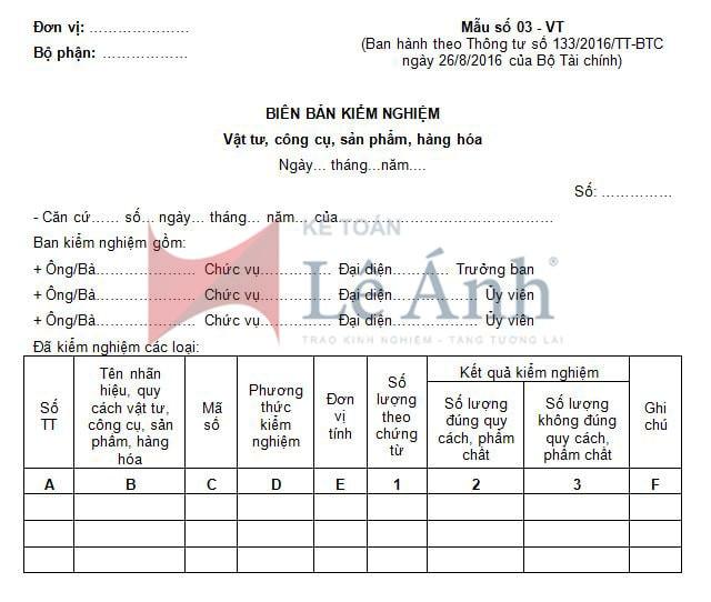 Biên bản kiểm nghiệm (Vật tư, công cụ, sản phẩm, hàng hóa) theo thông tư 133/2016/TT-BTC