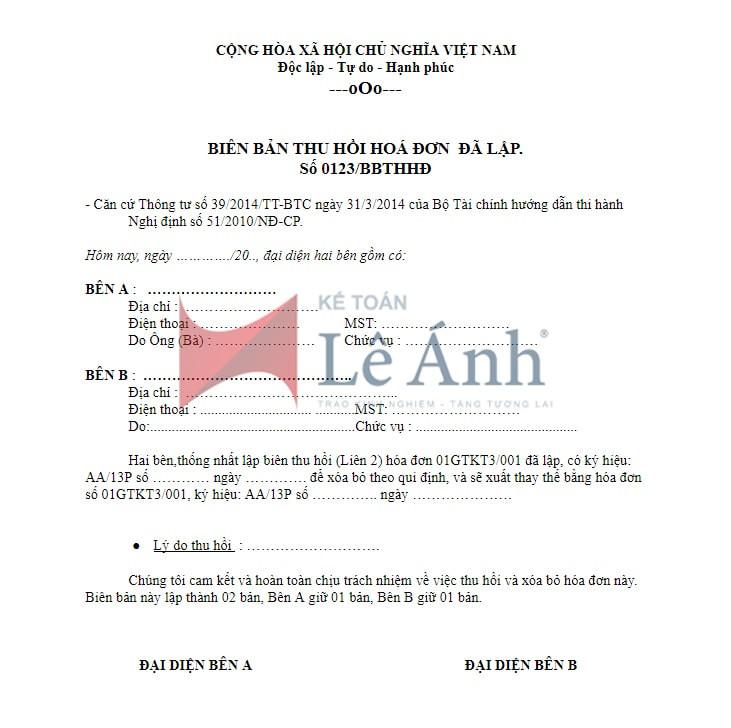 Hướng dẫn lập mẫu biên bản thu hồi hóa đơn viết sai