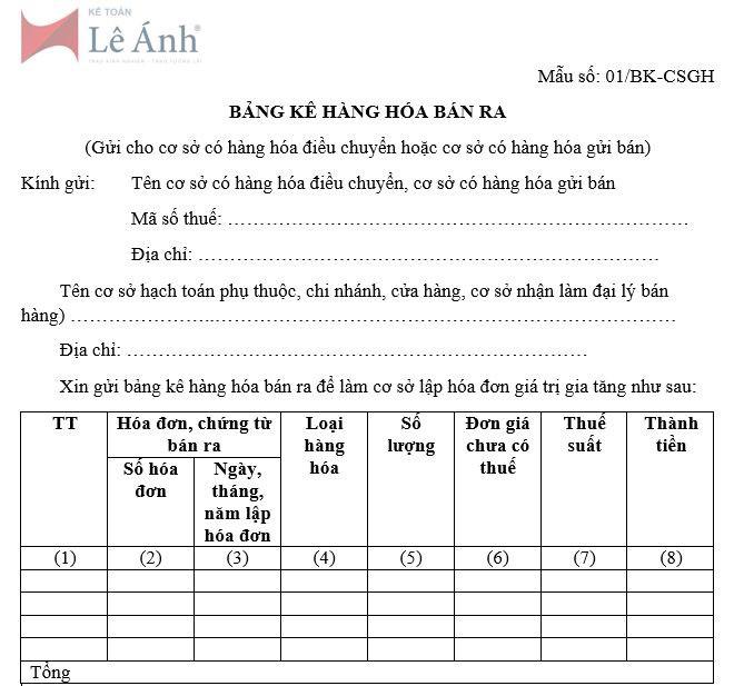 Mẫu bảng kê hàng hóa bán ra số 01/BK-CSGH