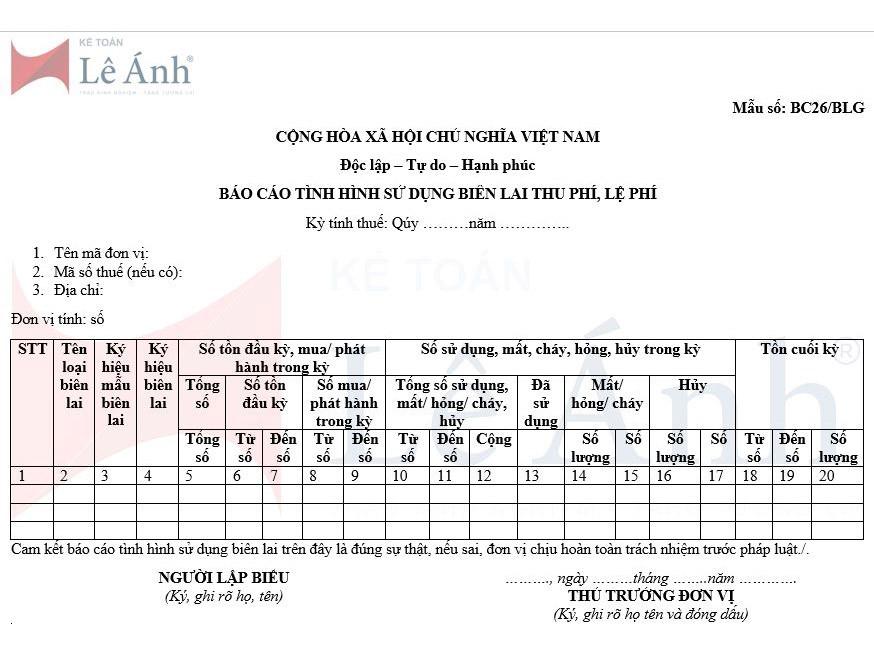 Mẫu số BC26/BLG báo cáo tình hình sử dụng biên lai thu phí lệ phí theo Nghị định 123