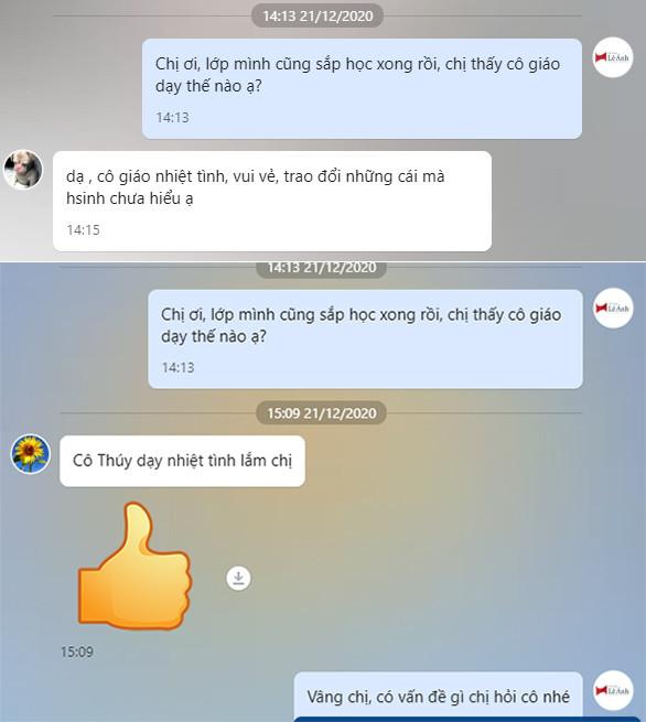 Phản hồi học viên khóa học kế toán online tại trung tâm Lê Ánh