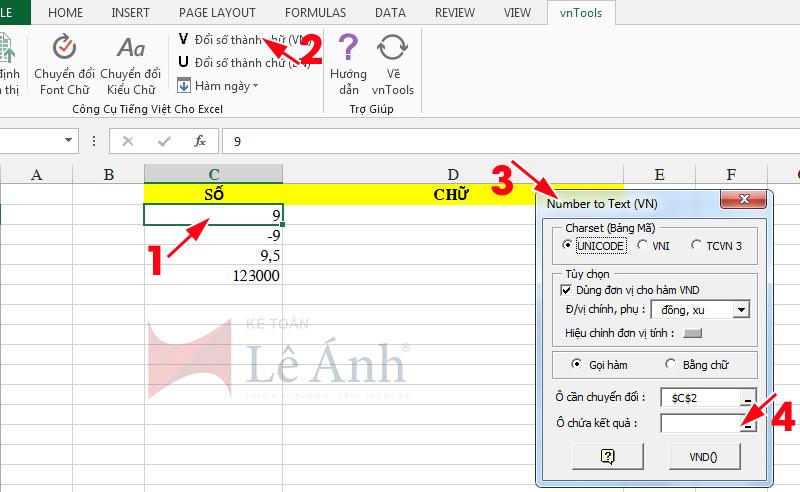 Đổi số thành chữ trong Excel 4