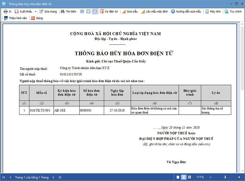 Thông báo hủy hóa đơn điện tử Mẫu 04 Nghị định 119/2018/NĐ-CP