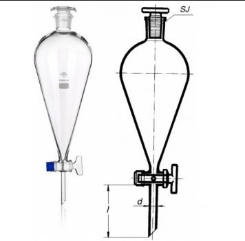 Phễu chiết nhựa hay thủy tinh được dùng để chiết, tách hóa chất