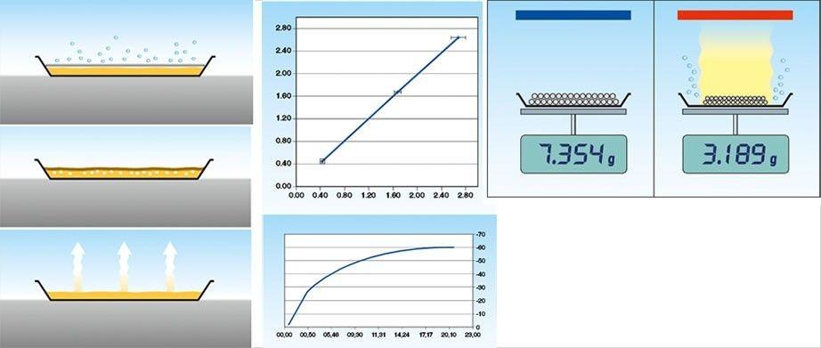Sự thay đổi trọng lượng mẫu vật khi sử dụng cân sấy ẩm