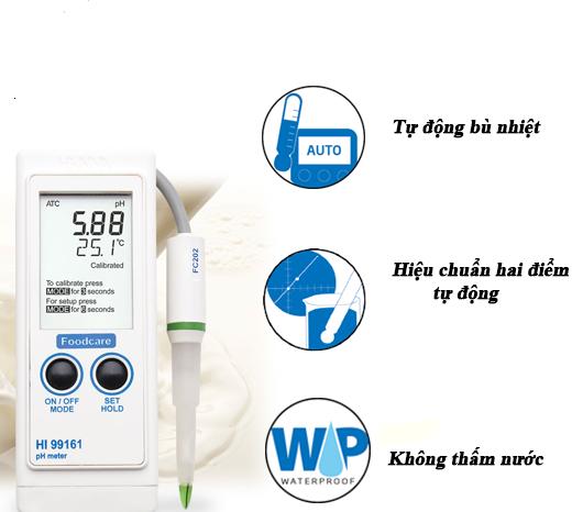 Máy đo độ pH có tính năng tự động bù nhiệt