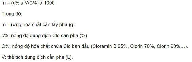công thức pha cloramin b