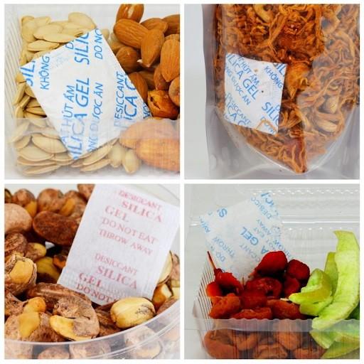 Silicagel được dùng để hút ẩm trong các gói bánh kẹo, mứt