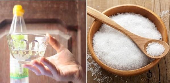 Hỗn hợp giấm và muối giúp làm sạch gỉ sét hiệu quả