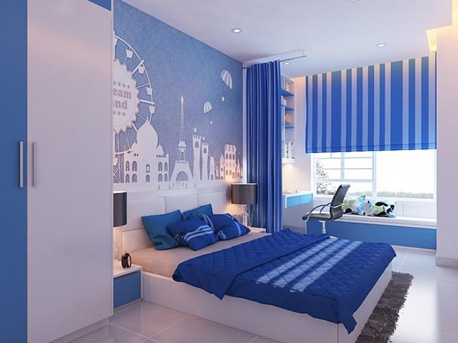 Phòng ngủ với tone màu chàm chủ đạo