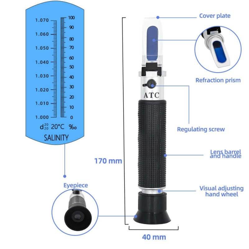 Cấu tạo của khúc xạ kế đo độ mặn quang năng