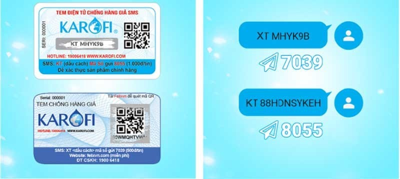 Cú pháp check chính hãng karofi k9iq 2.0