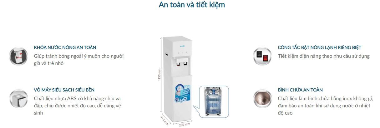 Cây nước nóng lạnh karofi hc300w an toàn và tiết kiệm