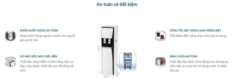 Cây nước nóng lạnh karofi hcv151 wh an toàn tuyệt đối cho bạn