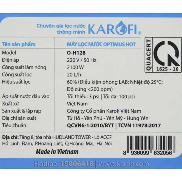 Thông tin karofi o h128