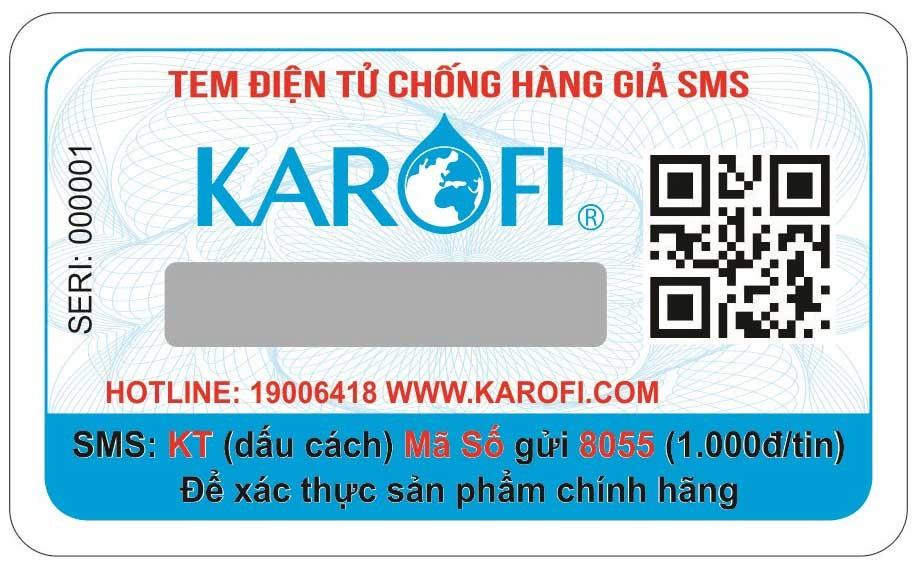 Tem chống hàng giả của Hình ảnh khách hàng mua Máy lọc nước karofi optimus o i129 a