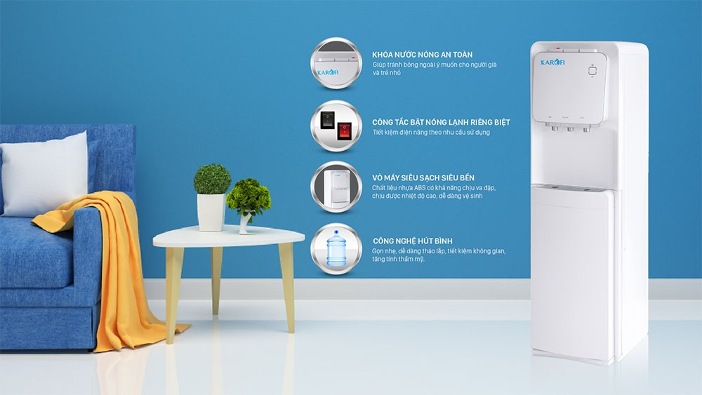 Cây nóng lạnh hút bình Karofi HC19 an toàn tuyệt đối cho người sử dụng
