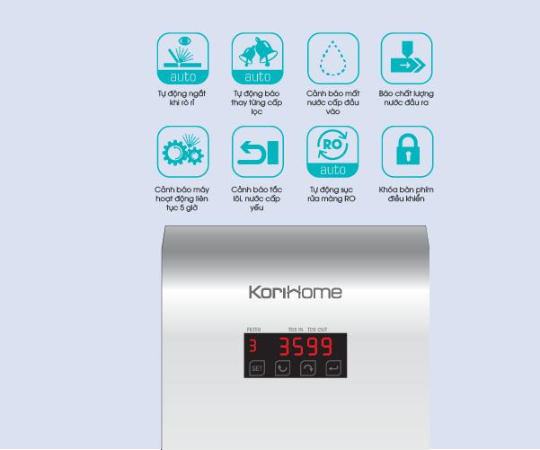 máy lọc nước ro korihome wpk 606 được tích hơp công nghệ thông minh