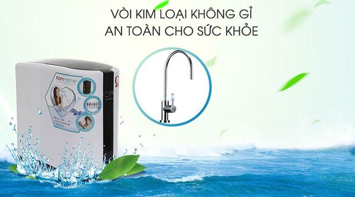 máy lọc nước korihome wpk 605 được trang bị vòi kim loại chống gỉ