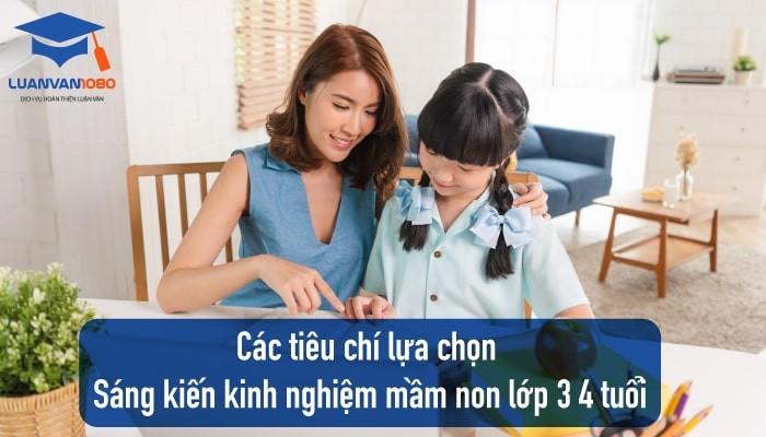 Các tiêu chí lựa chọn Sáng Kiến Kinh Nghiệm Mầm Non 3 4 tuổi