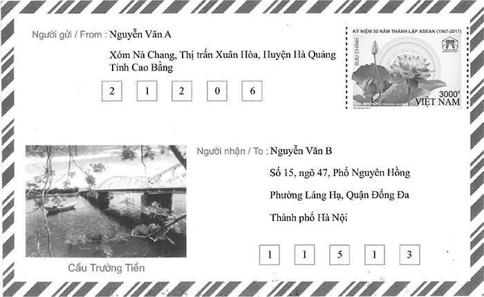 Hướng dẫn ghi mã bưu điện với thư có chỗ ghi mã bưu điện riêng