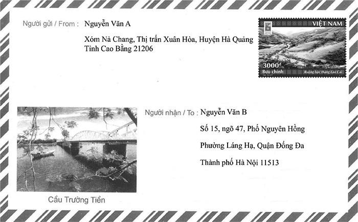 Hướng dẫn ghi mã bưu điện với thư không có chỗ ghi mã bưu điện riêng