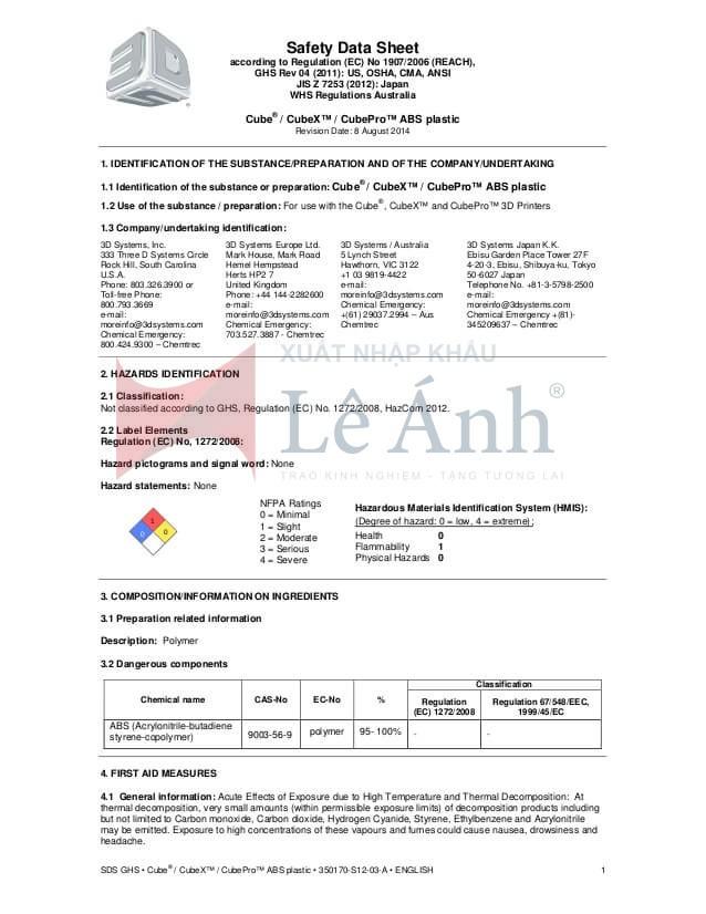 bảng chỉ dẫn an toán hóa chất msds