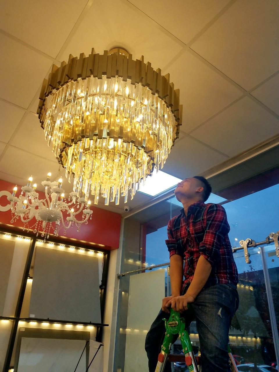 Đèn trang trí pha lê thủy tinh 2 tầng - Đèn thả