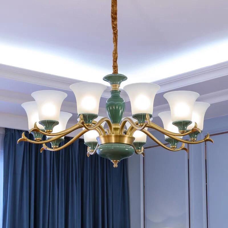 Đèn trang trí chùm phòng ngủ bằng gốm sứ - Đèn chùm