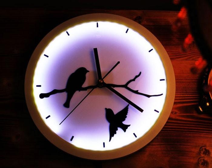 Đèn ngủ treo tường kết hợp với đồng hồ - Đèn ngủ gắn tường đồng hồ